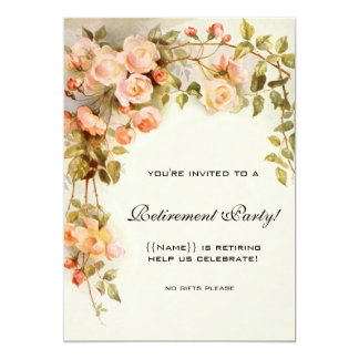 Vintage Pink Roses Antique Floral Retirement Party Card
