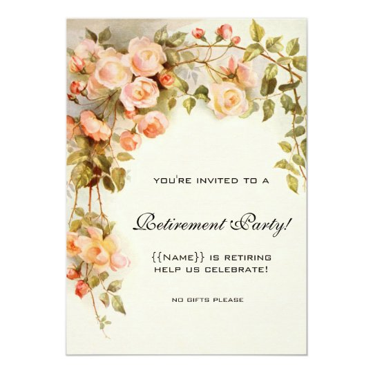 Vintage Pink Roses Antique Floral Retirement Party