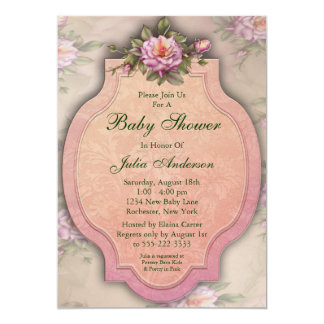 Vintage Pink Roses Baby Girl Shower Invitations