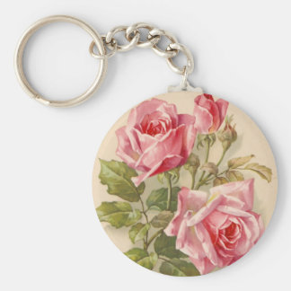 Vintage Pink Roses Basic Round Button Keychain