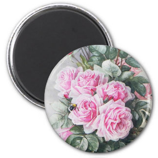 Vintage Pink Roses Bouquet 2 Inch Round Magnet