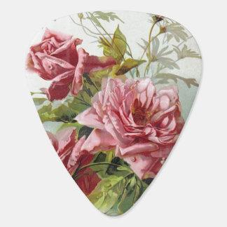 Vintage Pink Roses Bouquet Guitar Pick