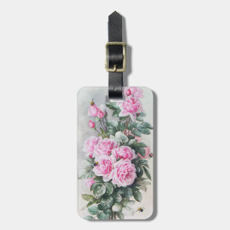 Vintage Pink Roses Bouquet Luggage Tag