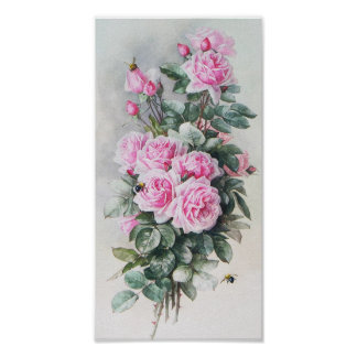 Vintage Pink Roses Bouquet Poster