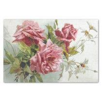 Vintage Pink Roses Bouquet Tissue Paper