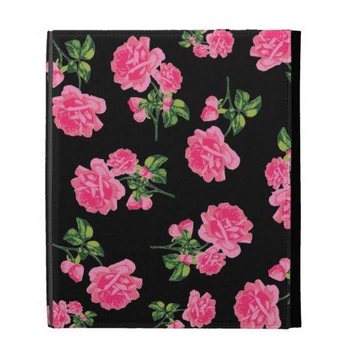 Vintage pink roses case - black iPad cases