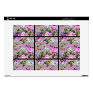 Vintage Pink Roses Collage On Black Laptop Skin