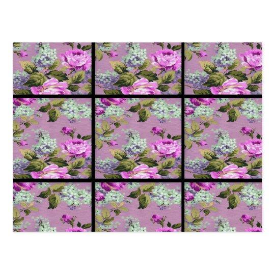 Vintage Pink Roses Collage On Black Postcard