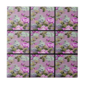 Vintage Pink Roses Collage On Black Tile