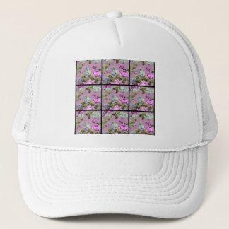 Vintage Pink Roses Collage On Black Trucker Hat