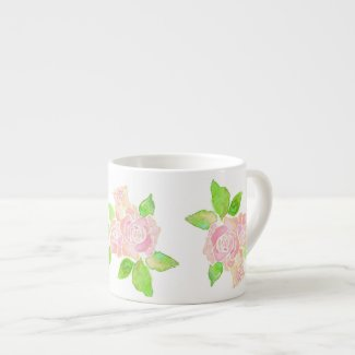 Vintage Pink Roses Espresso Coffee Mug