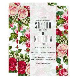 Vintage pink roses floral bohemian Wedding Card