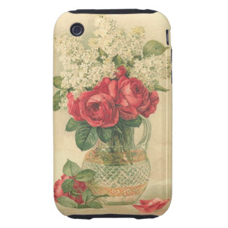 Vintage  Pink Roses floral in vase - iPhone 3G/GS iPhone 3 Tough Case