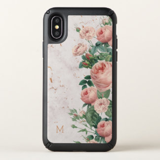 Vintage Pink Roses Floral Marble Custom Speck iPhone X Case