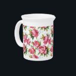 """Vintage pink roses floral pattern pitcher<br><div class=""""desc"""">Vintage pattern</div>"""