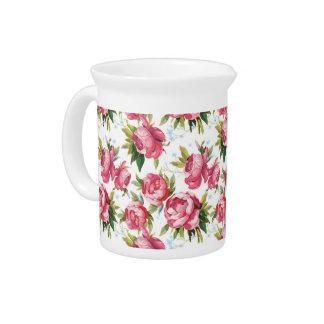 Vintage pink roses floral pattern pitcher
