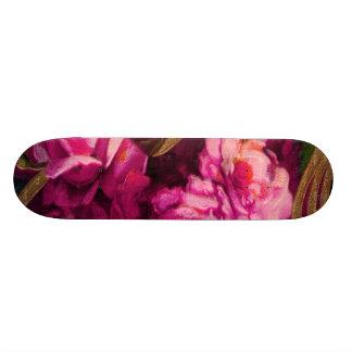 Vintage Pink Roses Gold Edging Skateboard Deck