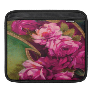 Vintage Pink Roses Gold Edging Sleeve For iPads