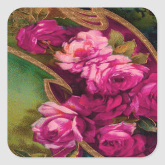 Vintage Pink Roses Gold Edging Square Sticker
