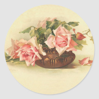 Vintage Pink Roses in a Bowl Classic Round Sticker
