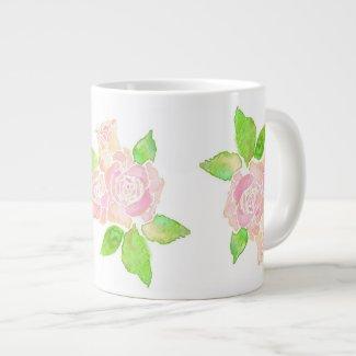 Vintage Pink Roses Jumbo-sized Coffee Mug Jumbo Mug