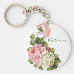 Vintage Pink Roses Keychain