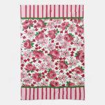 Vintage Pink Roses Kitchen Towel