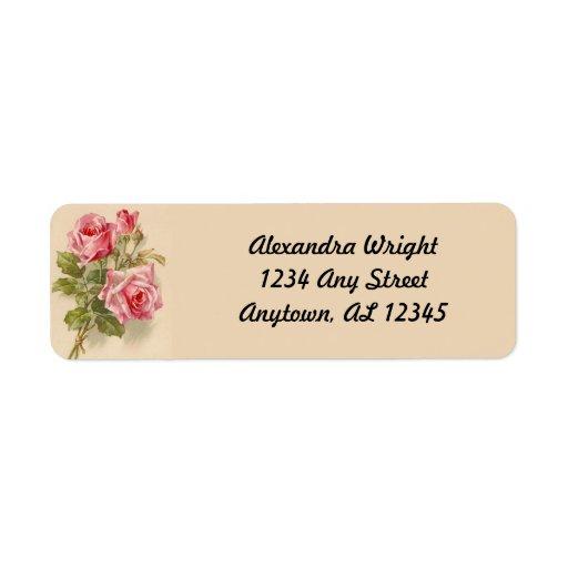 Vintage Pink Roses Return Address Labels