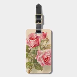 Vintage Pink Roses Luggage Tags