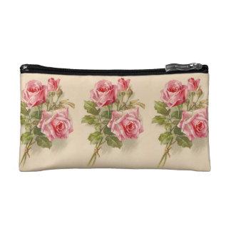 Vintage Pink Roses Makeup Bag