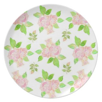 Vintage Pink Roses Melamine Picnic or Party Plate