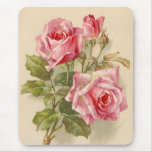 Vintage pink roses mouse pad