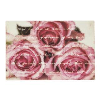 Vintage Pink Roses Laminated Place Mat