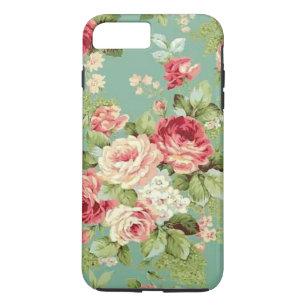 Vintage Pink Roses On Green Wallpaper Iphone 8 Plus 7 Plus Case