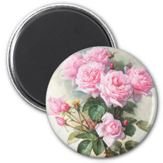 Vintage Pink Roses Painting 2 Inch Round Magnet