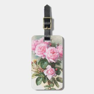 Vintage Pink Roses Painting Luggage Tag
