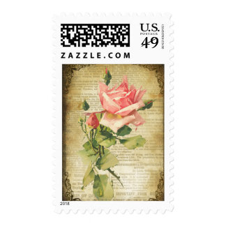 Vintage Pink Roses Postage Stamp