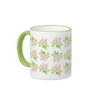 Vintage Pink Roses Ringer Mug