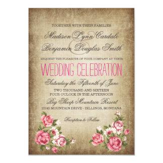 Vintage Pink Roses Rustic Wedding Invitations