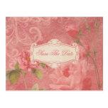 Vintage Pink Roses Save The Date Postcard