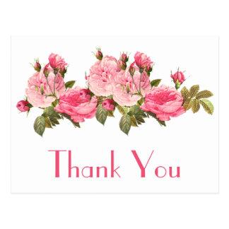 Vintage Pink Roses Thank You Floral  Postcard