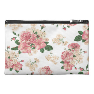 Vintage pink roses travel accessory bags