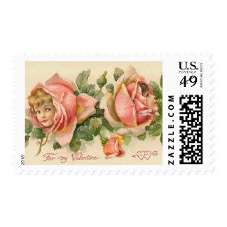 Vintage Pink Roses Valentine Postage