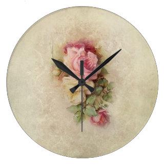 Vintage Pink Roses Wall Clock