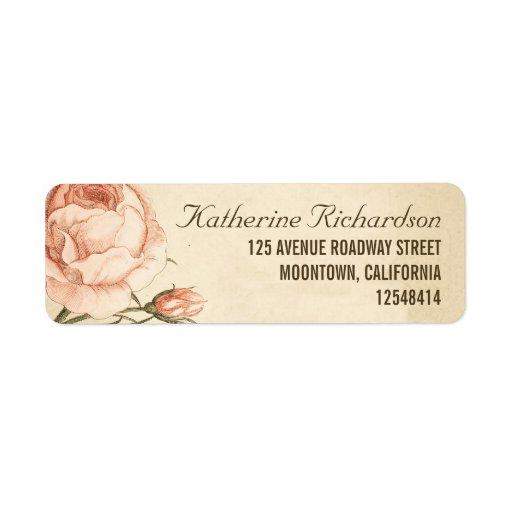 vintage pink roses wedding address labels