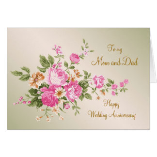 Vintage pink roses Wedding Anniversary Mom and Dad Card