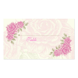 Vintage pink roses wedding place card business card