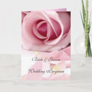 Vintage Pink Roses Wedding Program card