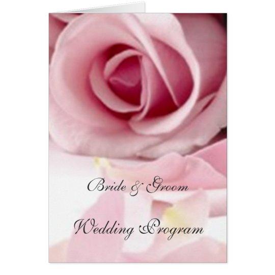 Vintage Pink Roses Wedding Program Card Zazzle