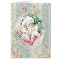 Vintage Pink Santa Claus at Window Card